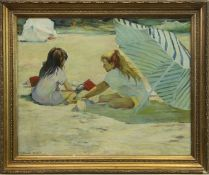 TWO YOUNG GIRLS ON A BEACH, AN OIL BY GERALD STRATCHEY