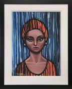 GREEN EYED GIRL, A PASTEL BY FRANK MCFADDEN