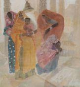 WOMEN AT JAIN, RAJASTHAN, A MIXED MEDIA BY BRENDA LENAGHAN