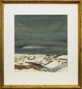 WINTER BORDERS, A WATERCOLOUR BY GEORGE DEVLIN