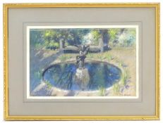 FOUNTAIN WITH SCULPTURE, A PASTEL BY PATRICK WILLIAM ADAM