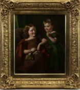 TWO BAIRNS PLAYING, AN OIL BY THOMAS FAED