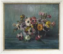 FLORAL STILL LIFE, AN OIL BY MARY C DAVIDSON