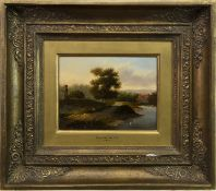 LANDSCAPE WITH FIGURES, AN OIL BY PATRICK NASMYTH