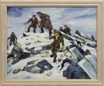 FARMERS AND THEIR DOGS ON A HILL IN WINTER, AN OIL IN THE MANNER OF SIR KYFFIN WILLIAMS