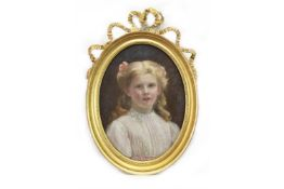 OVAL PORTRAIT OF A YOUNG GIRL BY ALEXINA MACRITCHIE