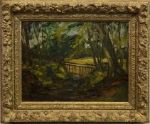 WOODLAND SCENE, AN OIL BY HARRY MACGREGOR