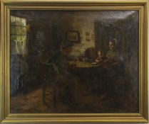 AN INTERIOR GENRE SCENE, AN OIL BY JACQUES ZON