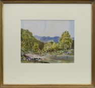 THE TUMMEL AT CLUNY MHOR, A WATERCOLOUR BY ALASTAIR A K DALLAS