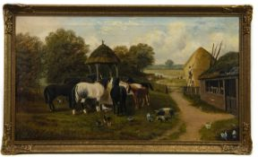 FARM NEAR WORCESTER, AN OIL BY EDWARD PRIESTLEY