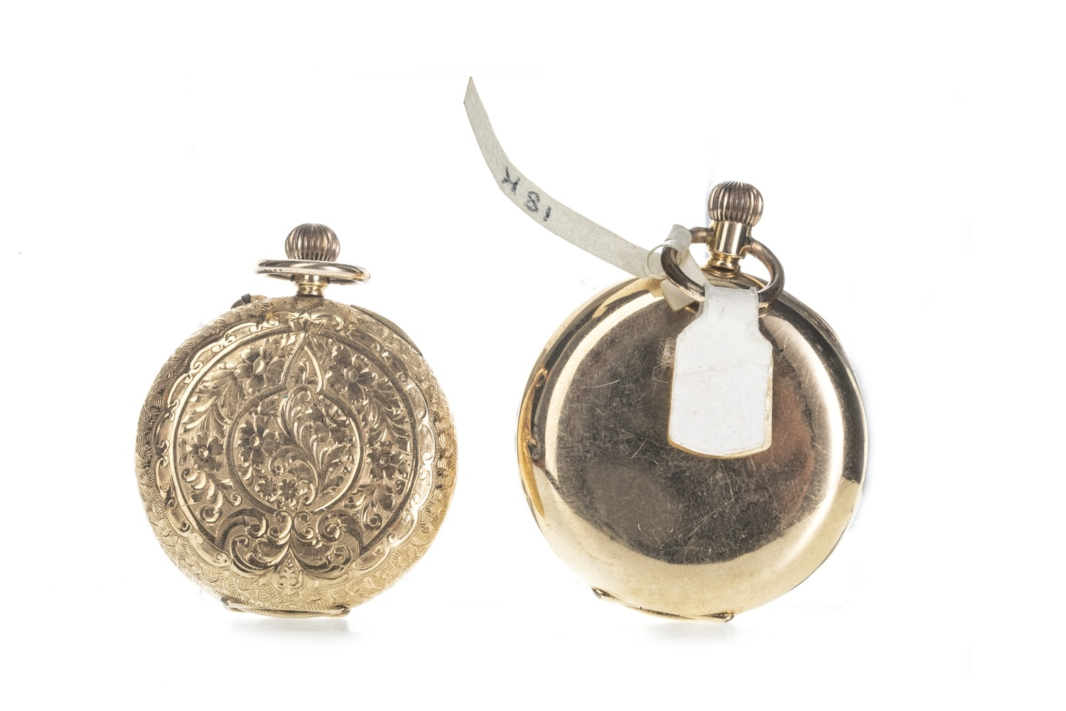 Lot 711 - TWO GOLD HALF HUNTER FOB WATCHES
