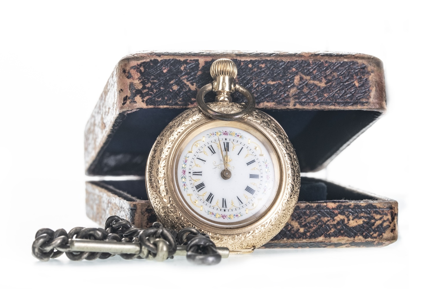 Lot 705 - A GOLD LADY'S FOB WATCH