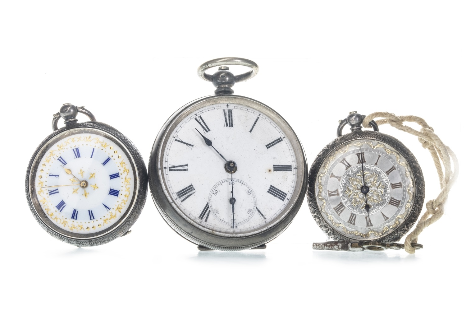 Lot 716 - A CONTINENTAL SILVER OPEN FACE POCKET WATCH AND TWO FOB WATCHES