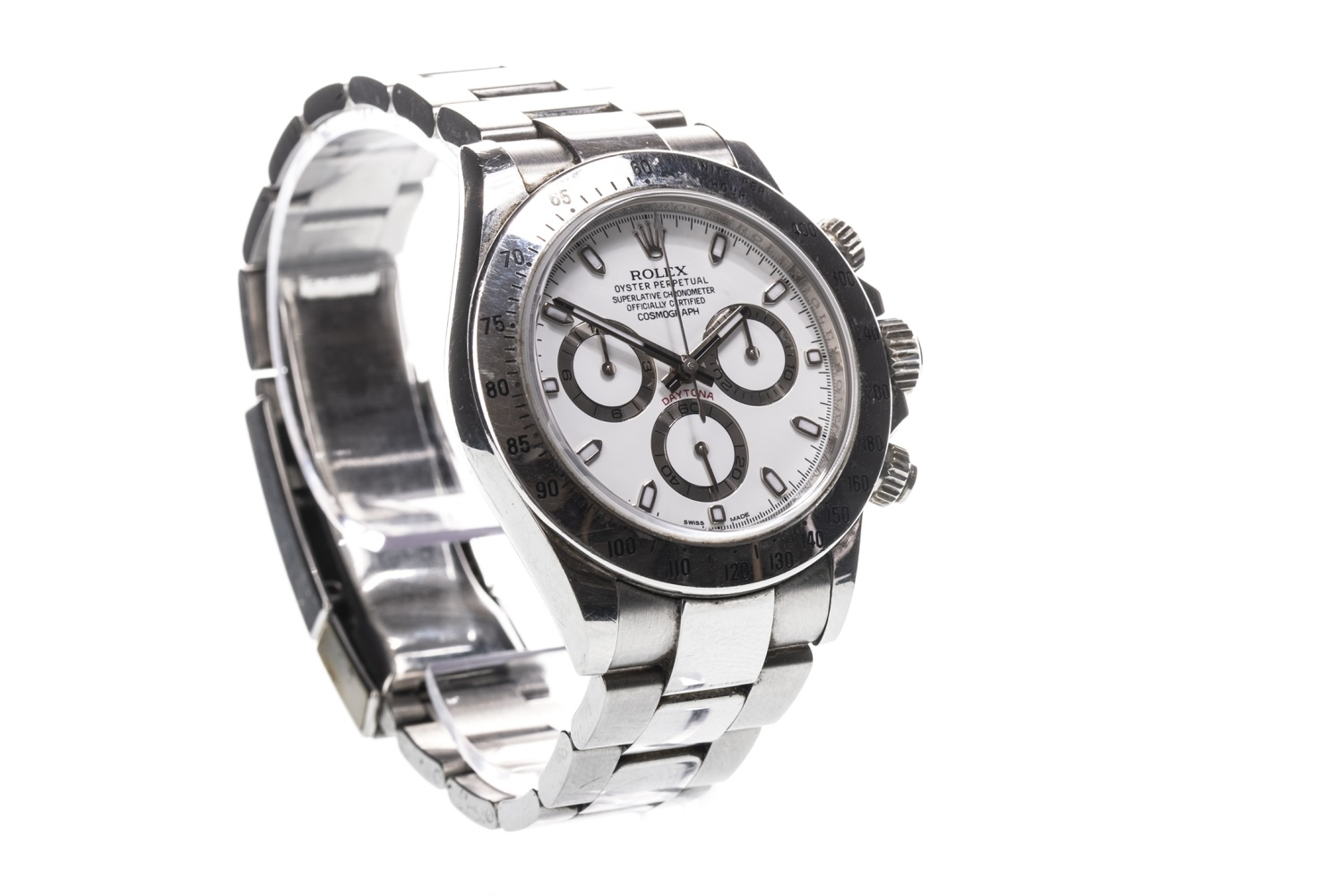 Lot 858 - A GENTLEMAN'S ROLEX OYSTER PERPETUAL COSMOGRAPH DAYTONA STAINLESS STEEL AUTOMATIC WRIST WATCH