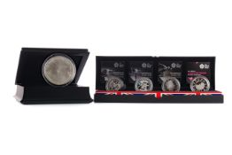 THE LONDON 2012 SILVER 5oz COIN AND COUNTDOWN TO LONDON 2012 SILVER PROOF FIVE POUND £5 COIN SET