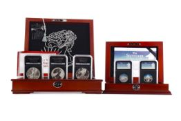 THE AMERICAN EAGLE SILVER DOLLARS COIN COLLECTION AND THE SNOWMAN FIFTY PENCE SILVER COIN SET
