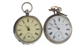 TWO SILVER KEY WIND POCKET WATCHES