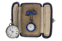 A LADY'S ENAMEL FOB WATCH AND ANOTHER SILVER FOB WATCH