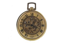 A GOLD PLATED WALTHAM SKELETON OPEN FACE KEYLESS WIND POCKET WATCH
