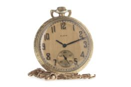 AN ART DECO ELGIN GOLD PLATED OPEN FACE KEYLESS WIND POCKET WATCH AND NINE CARAT GOLD CHAIN