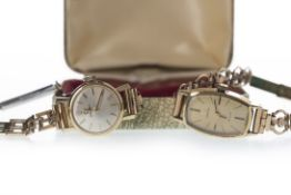 TWO LADY'S GOLD PLATED OMEGA MANUAL WIND WRIST WATCHES