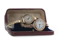 TWO LADY'S GOLD WATCHES
