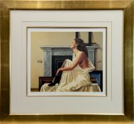 MODEL IN WHITE, A PRINT SIGNED BY JACK VETTRIANO