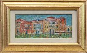 BUILDINGS, VENICE, AN OIL BY CARLO ROSSI