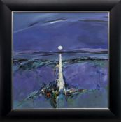 THE MOON IN JUNE IN DUNOON, AN ACRYLIC BY SHELAGH CAMPBELL