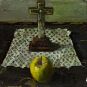STILL LIFE WITH AN APPLE, AN OIL BY FRED GRAY