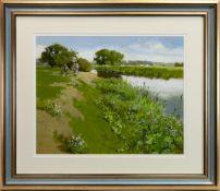 RIVERSIDE PATH, AN ACRYLIC BY JOHN HASKINS
