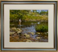 FLY FISHING, AN ACRYLIC BY JOHN HASKINS