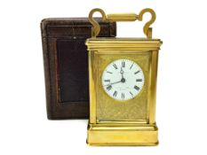 A LATE 19TH CENTURY CARRIAGE CLOCK