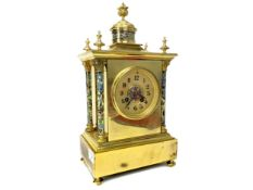 A LATE 19TH CENTURY FRENCH BRASS AND CHAMPLEVE ENAMEL CLOCK