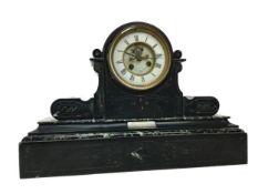 A LATE 19TH CENTURY BLACK SLATE MANTEL CLOCK