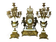 A REPRODUCTION ITALIAN GILTMETAL AND WHITE MARBLE CLOCK GARNITURE
