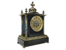 A LATE 19TH CENTURY BRASS & CHAMPLEVE ENAMEL MANTEL CLOCK
