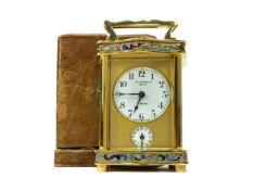 A LATE 19TH CENTURY FRENCH CHAMPLEVE ENAMEL TRAVELLING TIMEPIECE