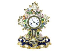 A LATE 19TH CENTURY FRENCH PORCELAIN MANTEL CLOCK