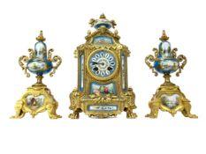 A 19TH CENTURY FRENCH ORMOLU CLOCK GARNITURE