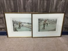 A PAIR OF COLOURED ETCHINGS, GOLFING, BY HENRY WILKINSON