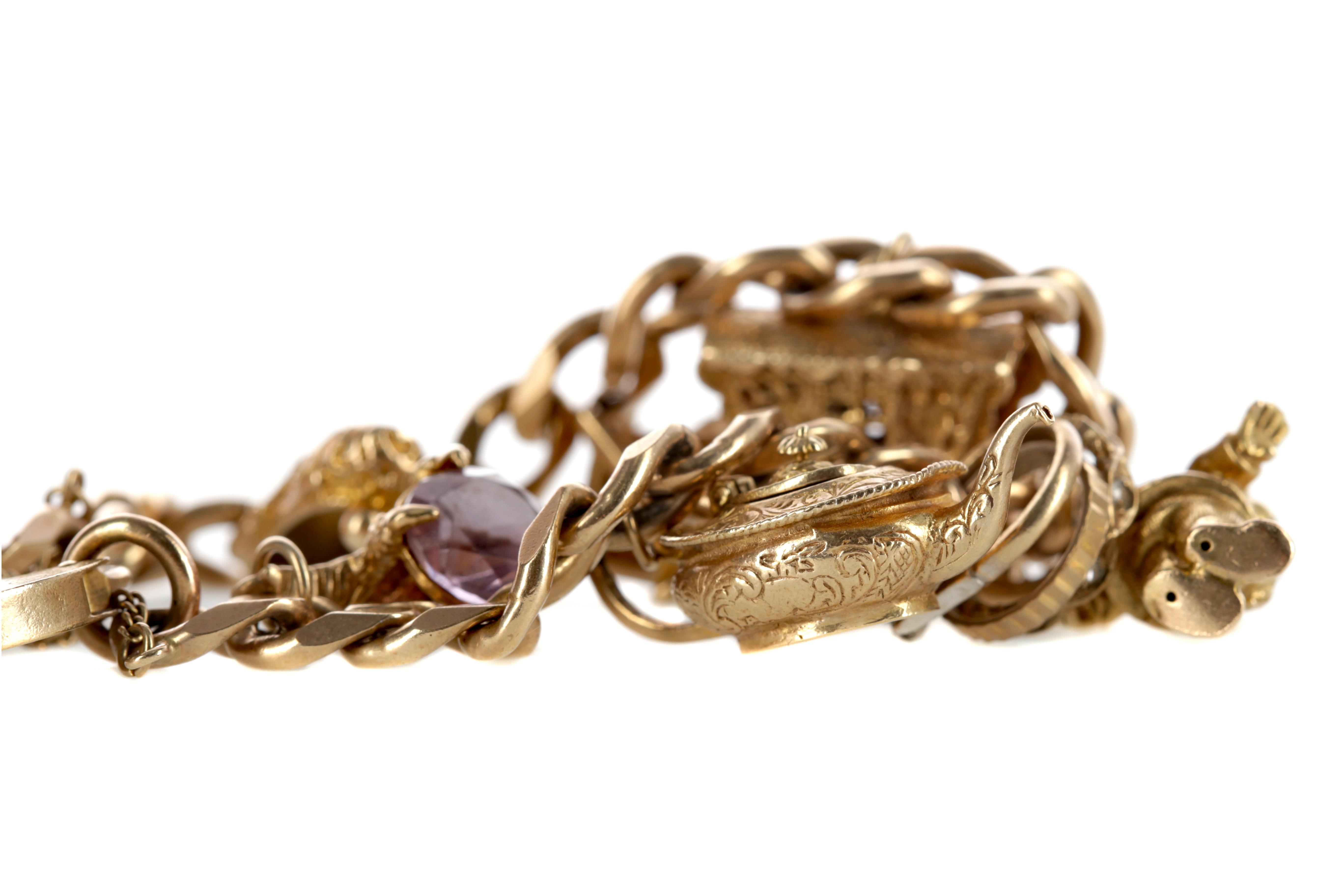 A GOLD CHARM BRACELET - Image 2 of 3