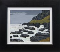 ROUGH SEAS ON THE EAST COAST OF LEWIS, AN OIL BY DAVID BARNES