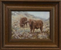 HIGHLAND CATTLE, AN OIL BY NEVILLE BARKER