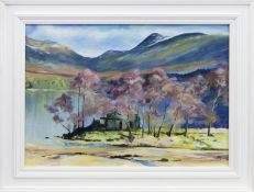 LOCH OSSIAN YOUTH HOSTEL, AN ACRYLIC BY HELEN MCDONALD MATHIE