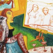ON THE EASEL, AN OIL BY JOHN BELLANY