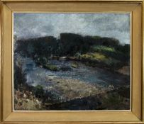 THE STEPPING STONES, AYR AN OIL BY JOHN HALLIDAY