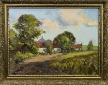 COUNTRY LANDSCAPE, AN OIL BY J D HENDERSON
