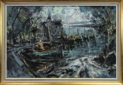 BOATS AT A SMALL HARBOUR OIL BY HAMISH LAWRIE