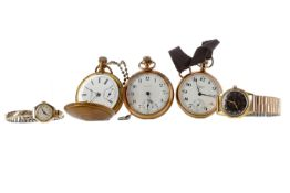 THREE GOLD PLATED POCKET WATCHES, AND TWO WRIST WATCHES